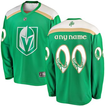 Men's Vegas Golden Knights Green Customized 2019 St. Patrick's Day Adidas Jersey