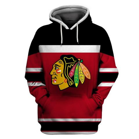 Men's Chicago Blackhawks Red Black All Stitched Hooded Sweatshirt