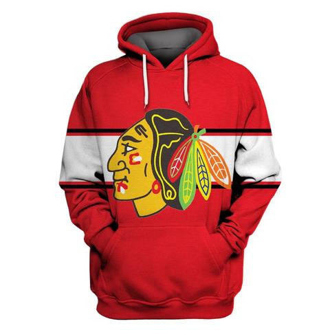 Men's Chicago Blackhawks Red All Stitched Hooded Sweatshirt