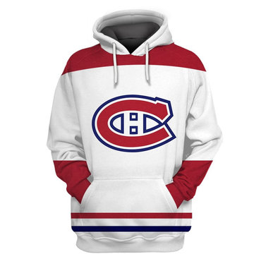 Men's Montreal Canadiens White All Stitched Hooded Sweatshirt