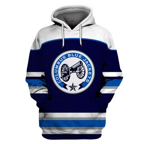 Men's Columbus Blue Jackets Blue All Stitched Hooded Sweatshirt