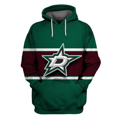 Men's Dallas Stars Green Wine All Stitched Hooded Sweatshirt