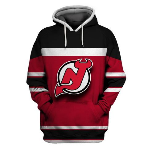 Men's New Jersey Devils Red Black All Stitched Hooded Sweatshirt