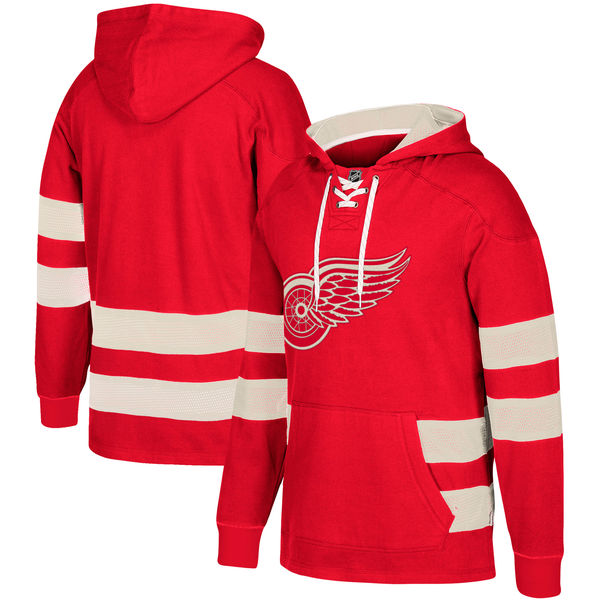 NHL Detroit Red Wings Red Men's Customized All Stitched Hooded Sweatshirt