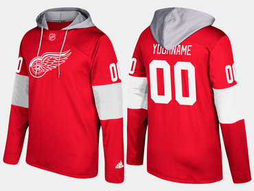 Adidas Red Wings Men's Customized Name And Number Red Hoodie