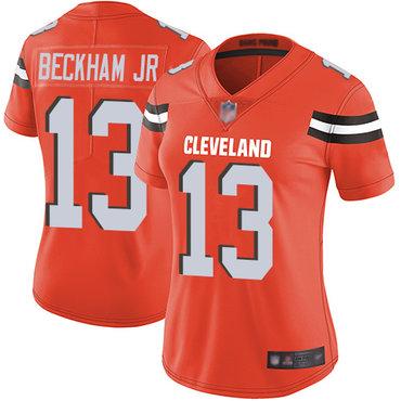 Women Nike Cleveland Browns #13 Odell Beckham Jr Orange Vapor Untouchable Limited Jersey