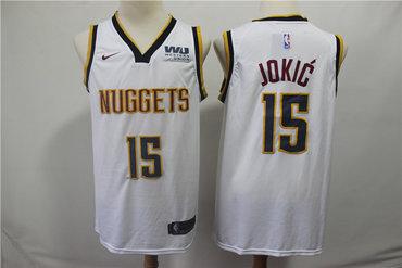 Denver Nuggets 15 Nikola Jokic White Nike Swingman Jersey