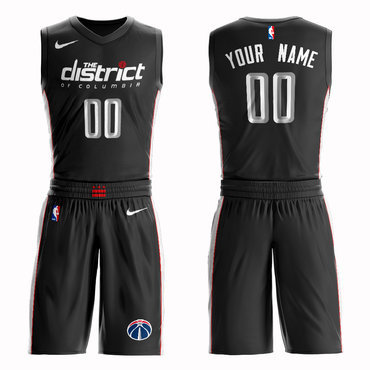 Wizards Black 2018-19 City Edition Men's Customized Nike Swingman Jersey(With Shorts)