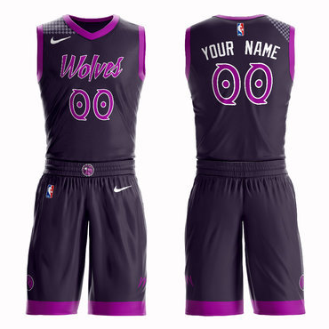Timberwolves Purple 2018-19 City Edition Men's Customized Nike Swingman Jersey(With Shorts)