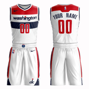Wizards White Men's Customized Nike Swingman Jersey(With Shorts)