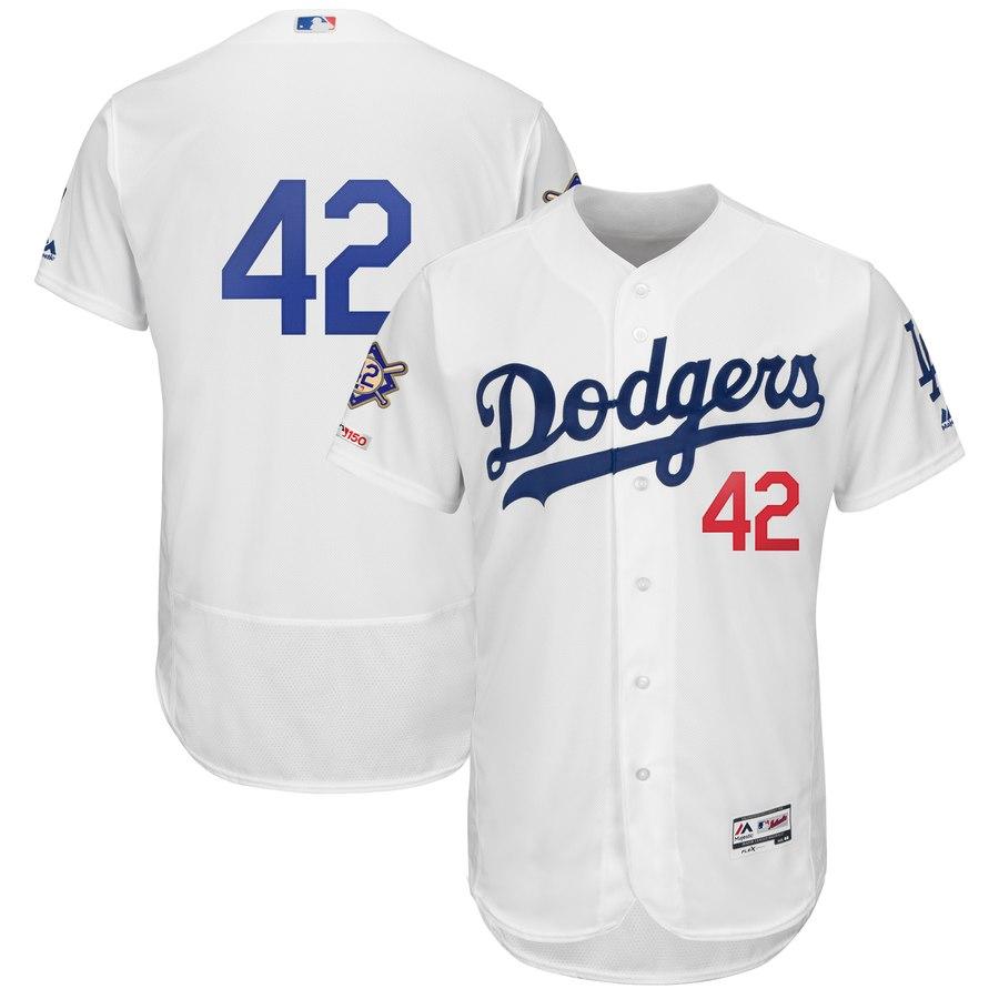 Men's Los Angeles Dodgers #42 Jackie Robinson White 2019 Jackie Robinson Day FlexBase Jersey
