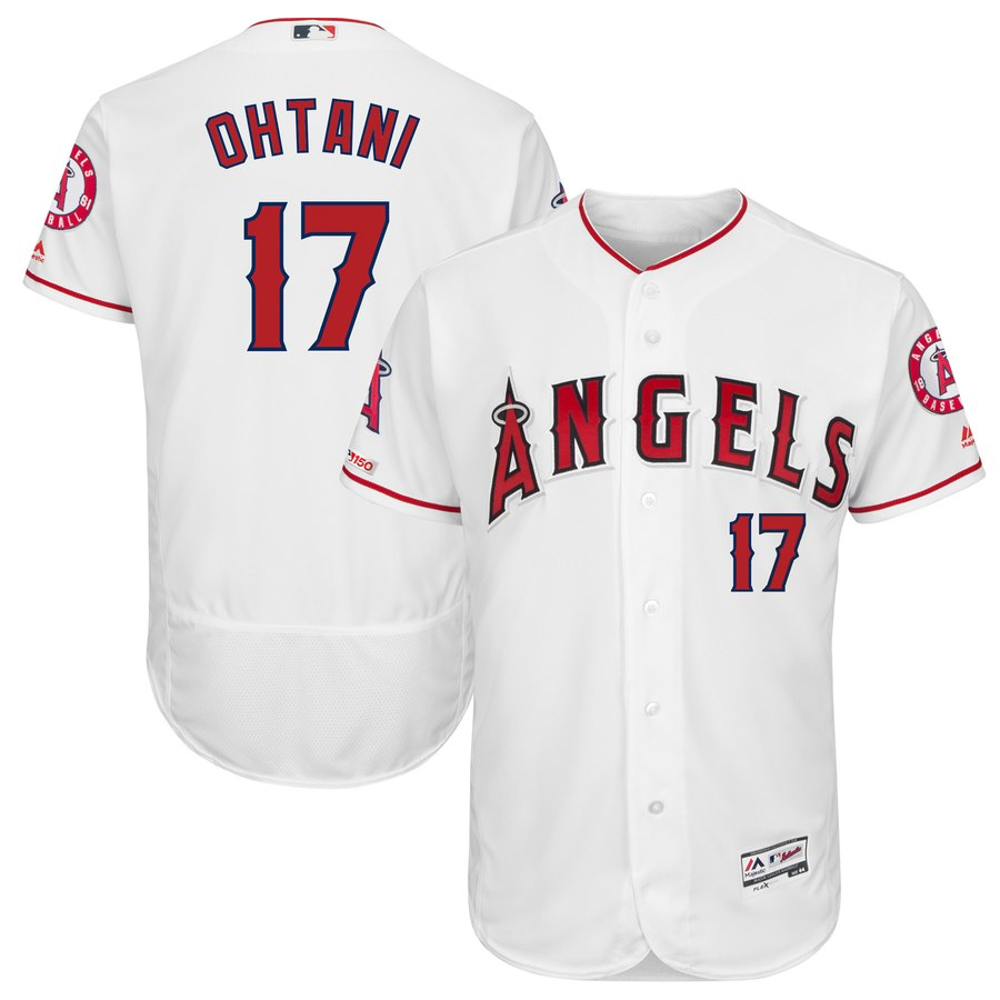 Men's LA Angels of Anaheim 17 Shohei Ohtani White 150th Patch Flexbase Jersey