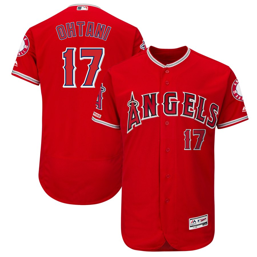 Men's LA Angels of Anaheim 17 Shohei Ohtani Scarlet 150th Patch Flexbase Jersey
