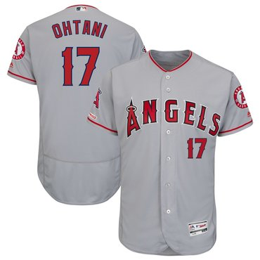 Men's LA Angels of Anaheim 17 Shohei Ohtani Gray 150th Patch Flexbase Jersey