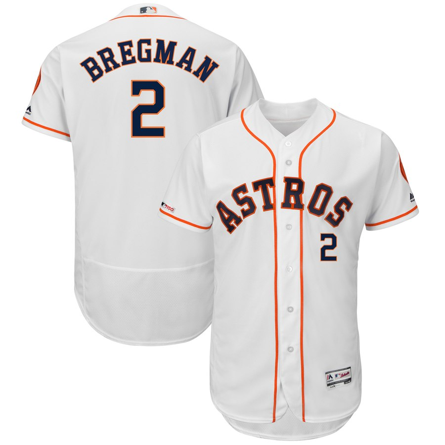 3596c3106 Men s Houston Astros 2 Alex Bregman White 150th Patch Flexbase Jersey