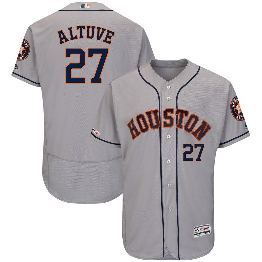 Men's Houston Astros 27 Jose Altuve Gray 150th Patch Flexbase Jersey