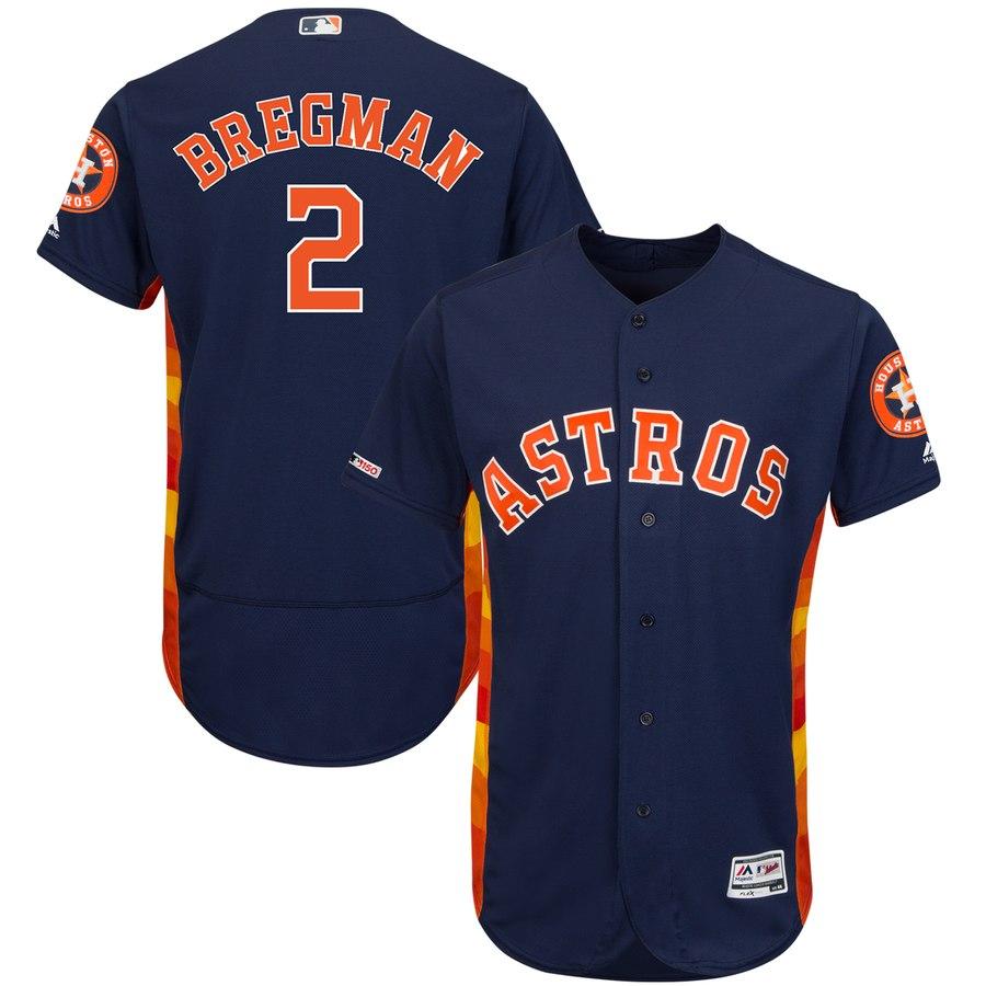 Men's Houston Astros 2 Alex Bregman Navy 150th Patch Flexbase Jersey