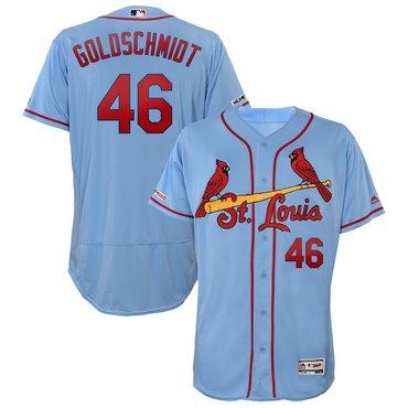 Men's St. Louis Cardinals 46 Paul Goldschmidt Light Blue 150th Patch Flexbase Jersey
