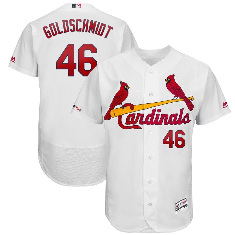 Men's St. Louis Cardinals 46 Paul Goldschmidt White 150th Patch Flexbase Jersey