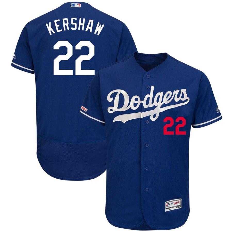 Men's Los Angeles Dodgers 22 Clayton Kershaw Royal 150th Patch Flexbase Jersey