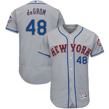 Men's New York Mets 48 Jacob deGrom Gray 150th Patch Flexbase Jersey