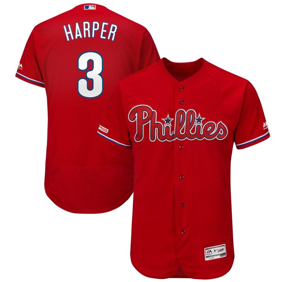 Men's Philadelphia Phillies 3 Bryce Harper Scarl 150th Patch Flexbase Collection