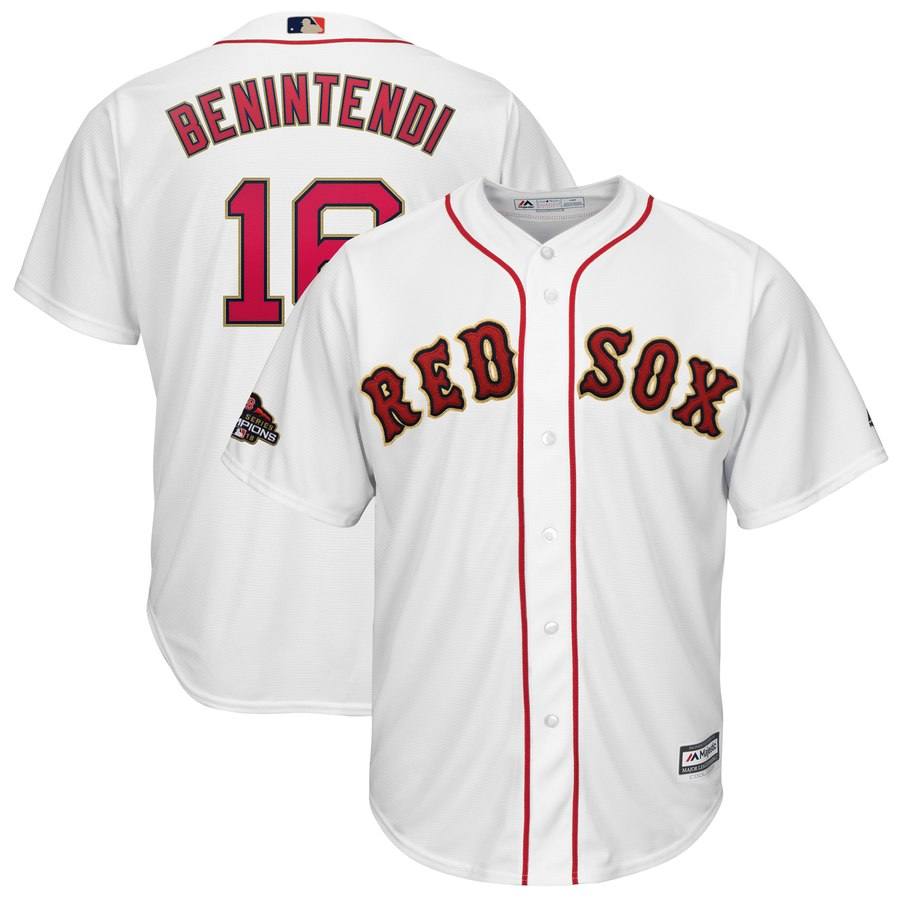 Men's Boston Red Sox 16 Andrew Benintendi White 2019 Gold Program Cool Base Jersey