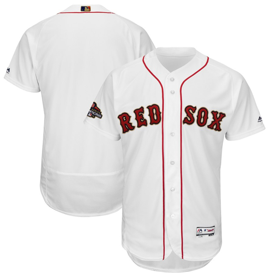 Men's Boston Red Sox Blank White 2019 Gold Program FlexBase Jersey