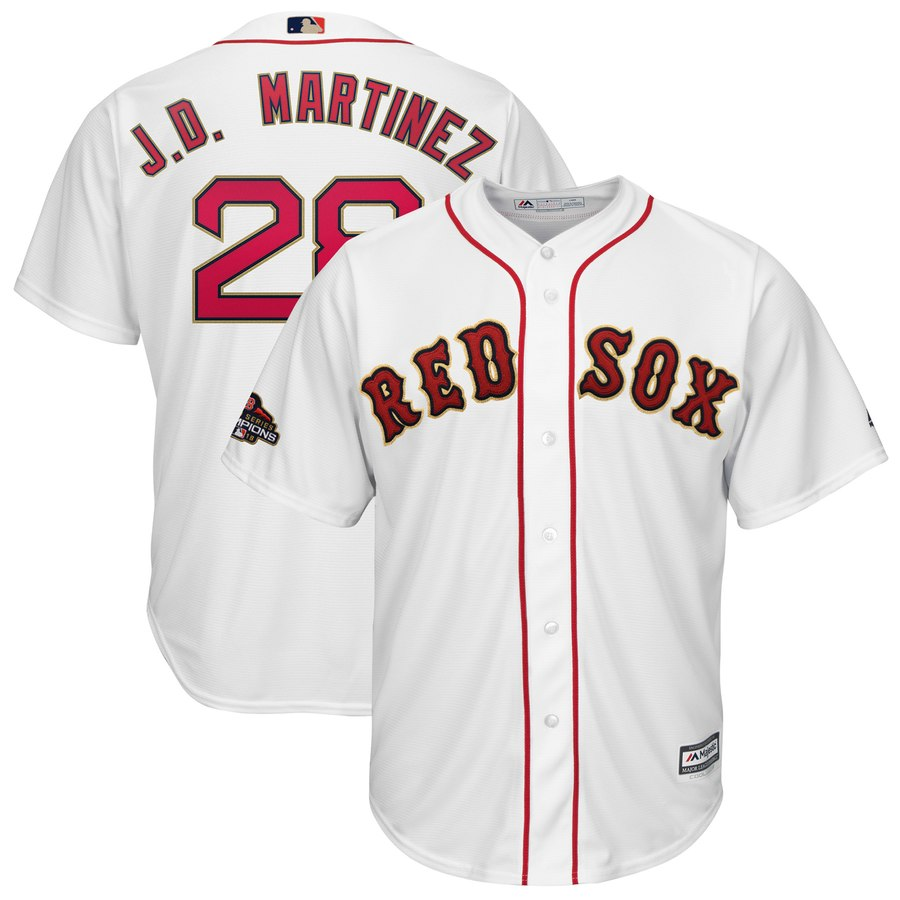 Men's Boston Red Sox 28 J.D. Martinez White 2019 Gold Program Cool Base Jersey
