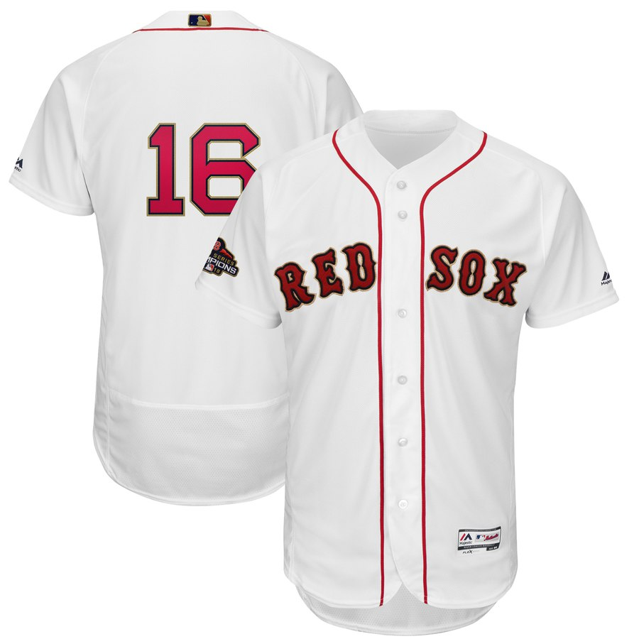 Men's Boston Red Sox 16 Andrew Benintendi White 2019 Gold Program FlexBase Jersey