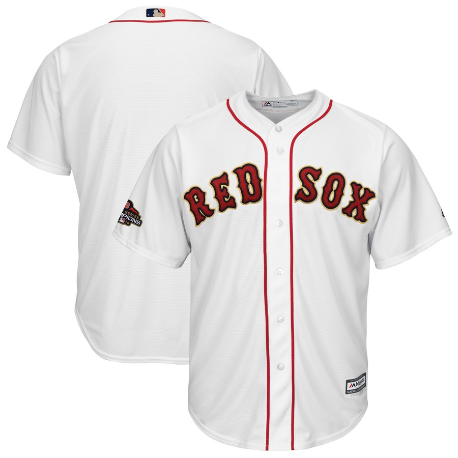 Men's Boston Red Sox Blank White 2019 Gold Program Cool Base Jersey