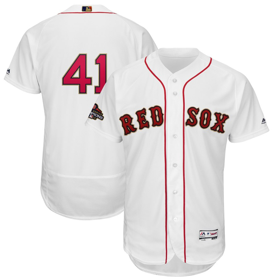 Men's Boston Red Sox 41 Chris Sale White 2019 Gold Program FlexBase Jersey