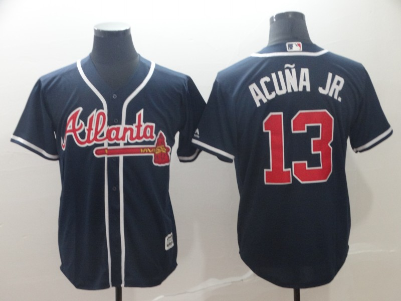 Men's Atlanta Braves 13 Ronald Acuna Jr. Navy Cool Base Jersey
