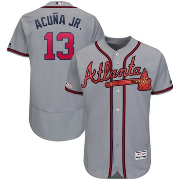 Men's Atlanta Braves #13 Ronald Acuna Jr Gray 150th Patch Flexbase Jersey