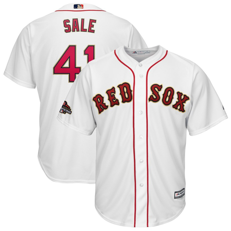 Youth Boston Red Sox 41 Chris Sale White 2019 Gold Program Cool Base Jersey