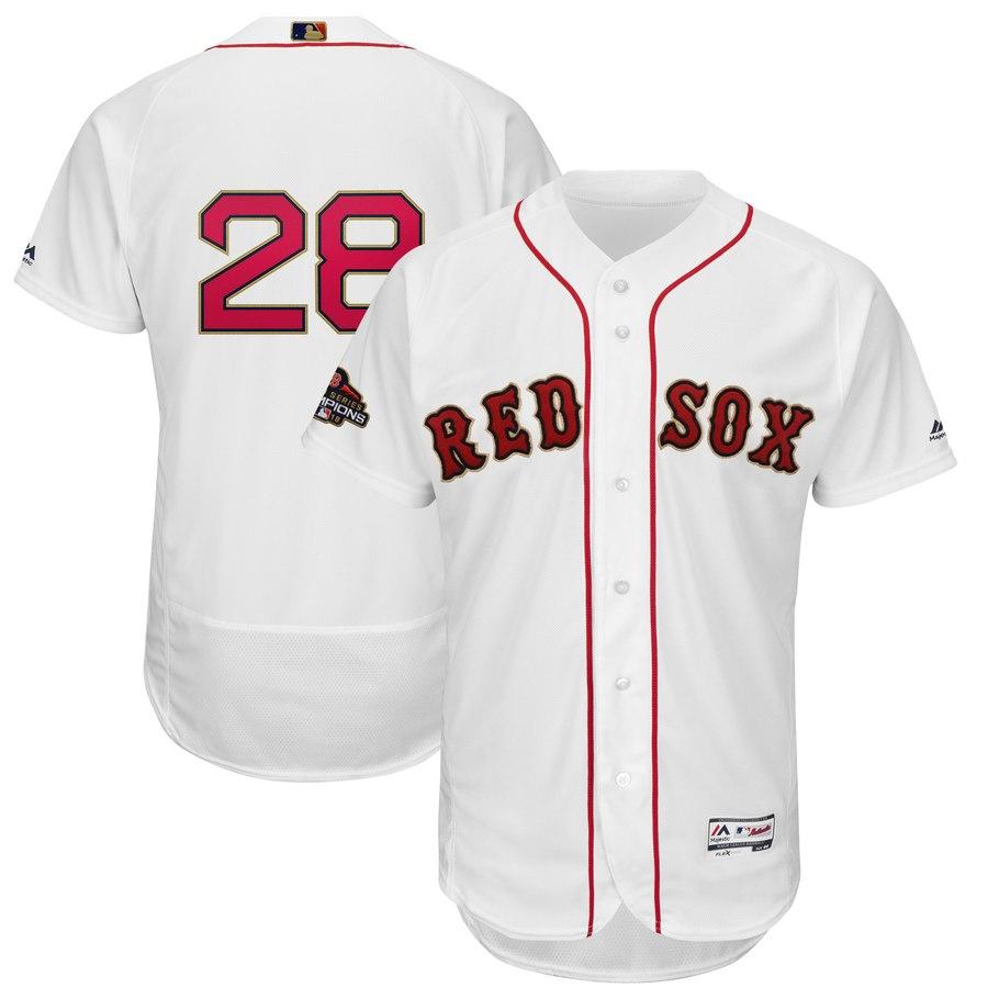 Youth Boston Red Sox 28 J.D. Martinez White 2019 Gold Program FlexBase Jersey