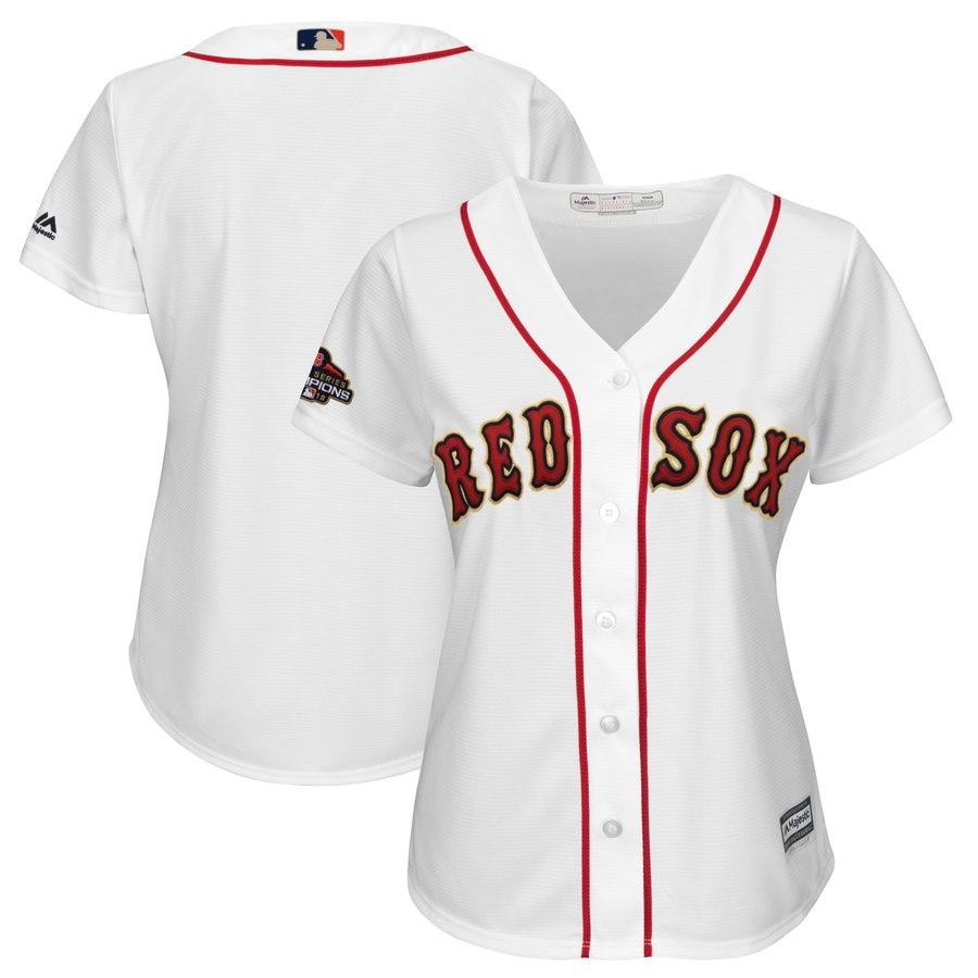 Boston Red Sox Blank White Women 2019 Gold Program Cool Base Jersey