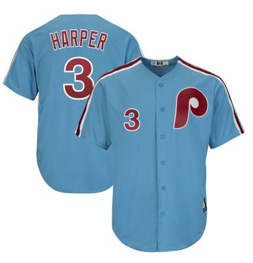 Men's Philadelphia Phillies #3 Bryce Harper Light Blue Majestic Cool Base Jersey