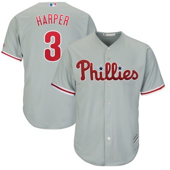 Men's Philadelphia Phillies #3 Bryce Harper Gray Home Stitched MLB Majestic Cool Base Jersey