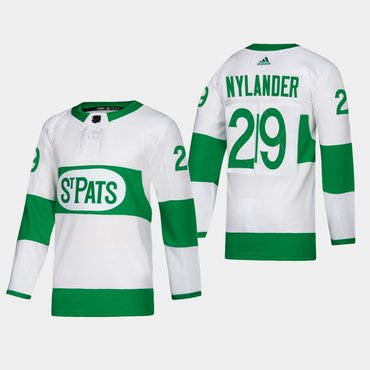 Men's Toronto Maple Leafs #29 William Nylander St. Pats Road Authentic Player White Jersey