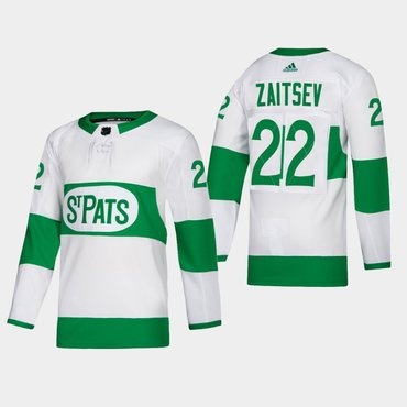 Men's Toronto Maple Leafs #22 Nikita Zaitsev St. Pats Road Authentic Player White Jersey