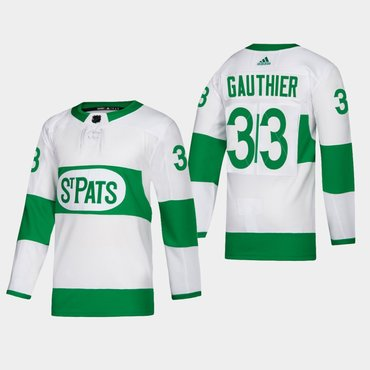 Men's Toronto Maple Leafs #33 Frederik Gauthier St. Pats Road Authentic Player White Jersey