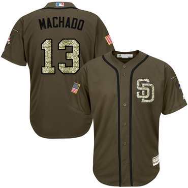 Men's San Diego Padres #13 Manny Machado Green Salute to Service Stitched Baseball Jersey