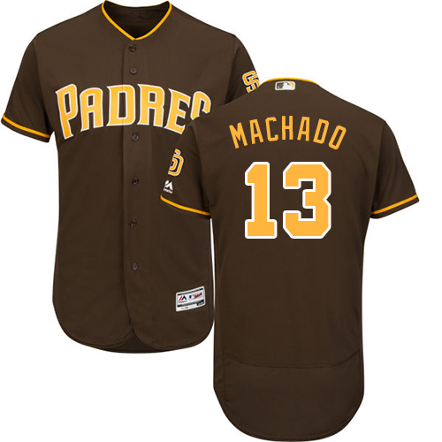 Men's San Diego Padres #13 Manny Machado Brown Flexbase Authentic Collection Stitched Baseball Jersey