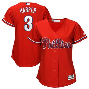 Women's Philadelphia Phillies #3 Bryce Harper Red Alternate Stitched MLB Majestic Cool Base Jersey