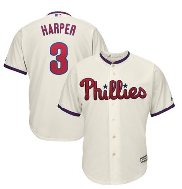 Youth Philadelphia Phillies #3 Bryce Harper Cream New Cool Base Stitched MLB Jersey