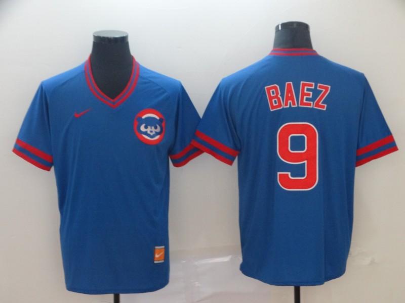 Men's Chicago Cubs 9 Javier Baez Blue Throwback Jersey