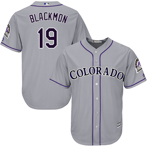 Men's Colorado Rockies 19 Charlie Blackmon Gray Cool Base Jersey