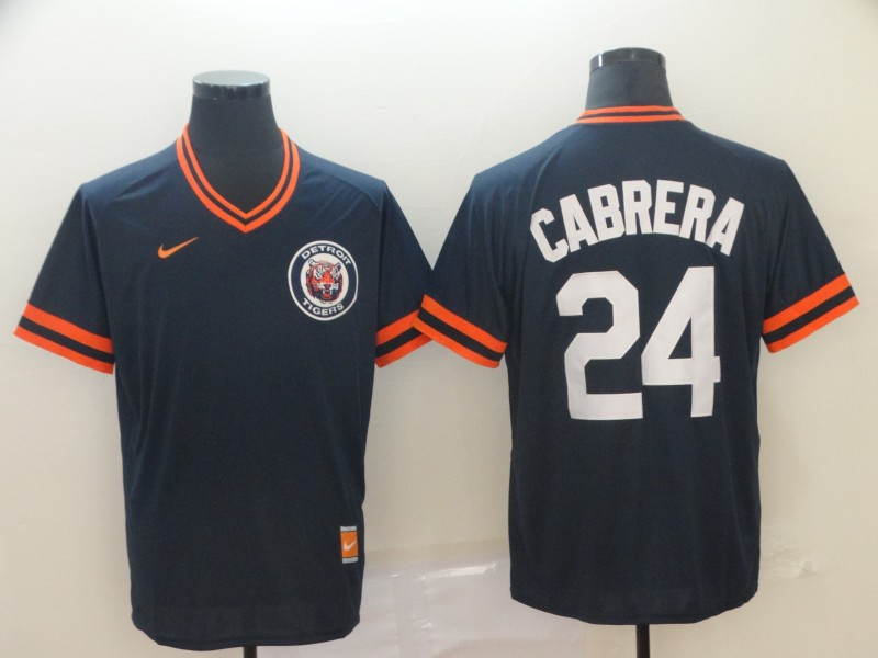 Men's Detroit Tigers 24 Miguel Cabrera Navy Throwback Jersey