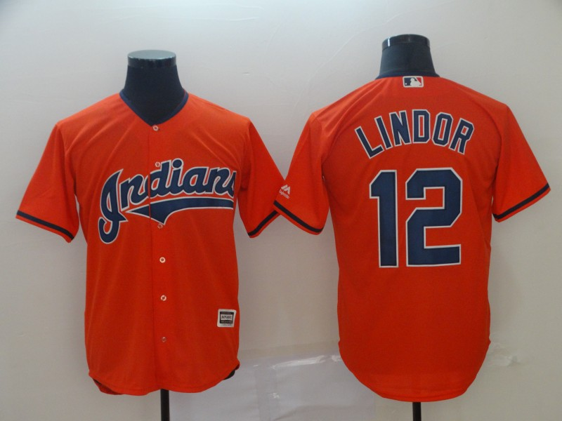 Men's Cleveland Indians 12 Francisco Lindor Orange Cool Base Jersey